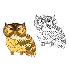 Cartoon brown short eared owl vector image