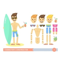 Characters constructor young fit man on the beach vector
