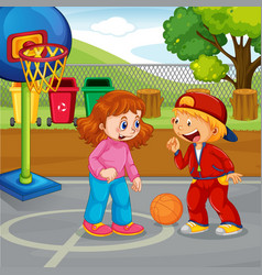 children basketball at park vector image
