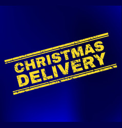 Christmas delivery grunge stamp seal on gradient vector