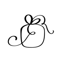 christmas gift box icon silhouette simple vector image