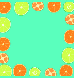 Citrus on a green background vector