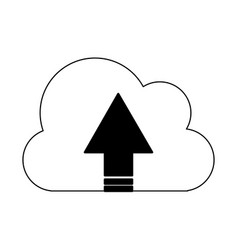 cloud computing upload in black and white vector image