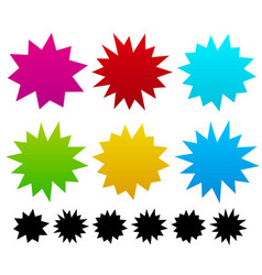 Colorful blank spiky pointed exploding shapes vector
