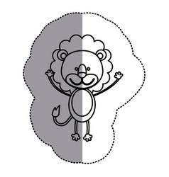 Contour teddy lion icon vector