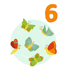 Counting from 1 to 10 number 6 page with colorful vector