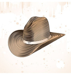 cowboy hat in engraving style vector image