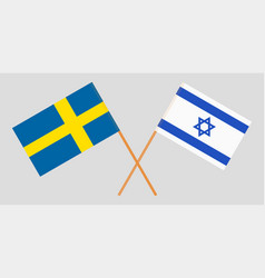 Crossed flags israel and sweden vector