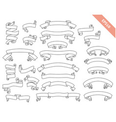 Curved outlines ribbons collection vector