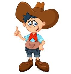 Cute young cowboy vector