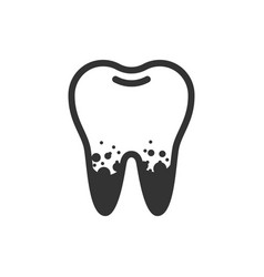 Dirty spoted tooth cute icon vector