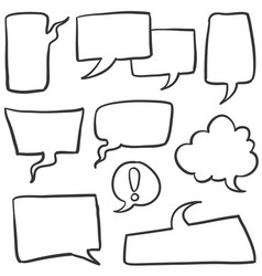 Doodle of text balloon set style vector