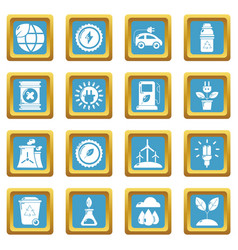 ecology icons set sapphirine square vector image