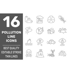 ecology problems line icons set with pollution vector image