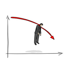 Fail businessman hanging on red graph going down vector