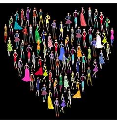 Fashion shopping heart vector image