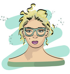 fast fashion sketch with girl in glasses vector image