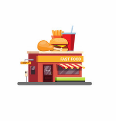 fast food restaurant building with drive threw ico vector image