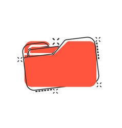 file folder icon in comic style documents archive vector image