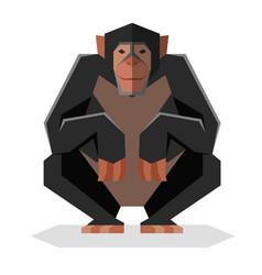 flat geometric chimpanzee vector image