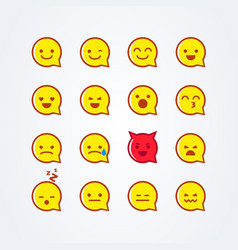 flat style emoji emoticon speech bubble icon set vector image