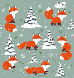 foxs cartoon seamless vector image