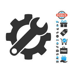 Gear and wrench options icon with free bonus vector