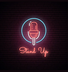 Glowing microphone neon sign vector