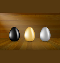 Gold black and silver eggs collection on wooden vector