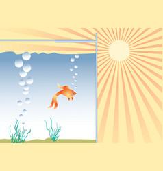 Goldfish in the aquarium in good conditions vector