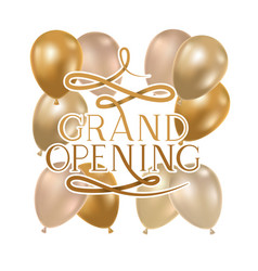 Grand opening label with helium balloons vector