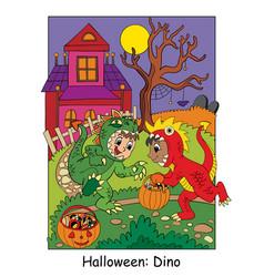 Halloween funny boys in dinosaur costume vector