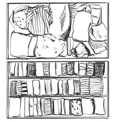 Hand drawn wardrobe sketch shelf with clothes vector