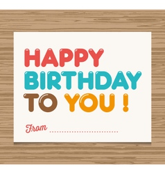 Happy birthday to you card vector