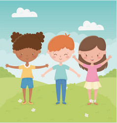 happy childrens day boy and girls in field vector image