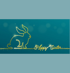 happy easter banner background in simple gold one vector image