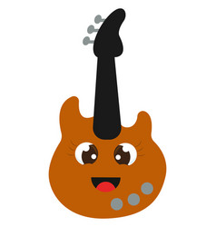 happy guitar on white background vector image