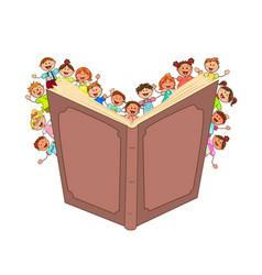 happy little kids read big book vector image