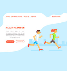 healthy marathon landing page template with vector image
