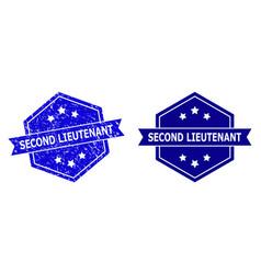 Hexagon second lieutenant watermark with distress vector