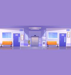Hospital corridor interior medical clinic hall vector