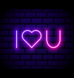 i love you neon heart sign neon text love you vector image