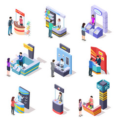 isometric expo stands exhibition demonstration vector image