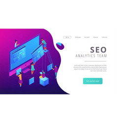 isometric seo analytics team landing page vector image
