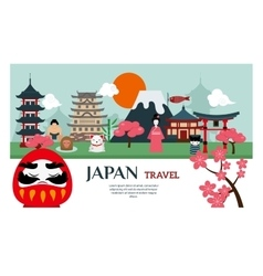 Japan landmark travel poster vector