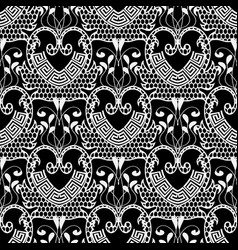 lace textured black and white floral greek vector image