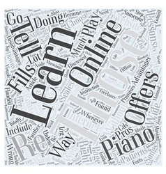 Learn piano online word cloud concept vector