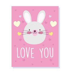 little rabbit face love hearts cartoon cute vector image