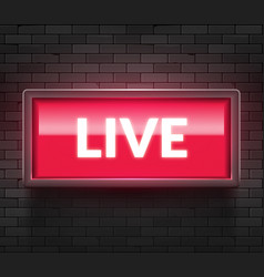 live light broadcast sign tv radio studio live vector image
