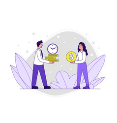 Male and female characters giving each other money vector